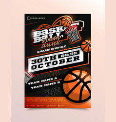 basketball sport flyer vertical card poster vector image