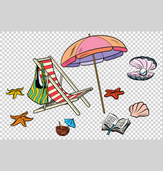 beach set tourism and leisure on the sea isolate vector image