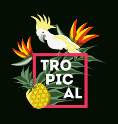 Beautiful exotic yellow cockatoo with palms vector
