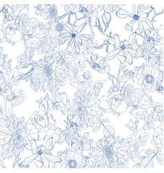 beautiful fabric blooming realistic line flowers vector image