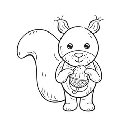 black and white a funny cartoon squirrel vector image