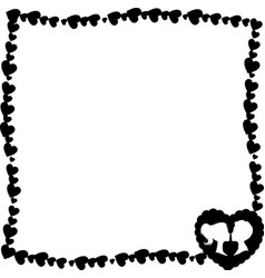 Black and white retro framework of hearts with vector