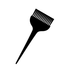 Black and white wide hair dye brush silhouette vector