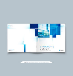 blue square catalog cover template layout design vector image