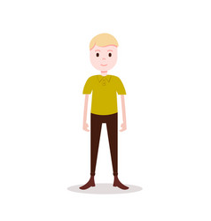 boy blond character serious male yellow shirt vector image