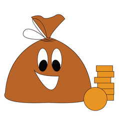 Brown smiling moneybag with golden coins on white vector