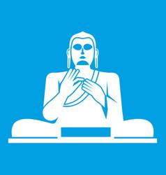 Buddha statue icon white vector