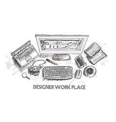 Business concept working desk Hand drawn sketch vector