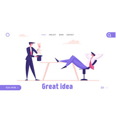 Business trick landing page template businessman vector