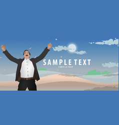 businessman raising his hand happy on background vector image