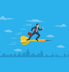 businessman standing on darts flying vector image