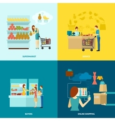 Buyer Flat Icons Set vector image