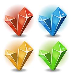 cartoon gems and diamonds icons vector image