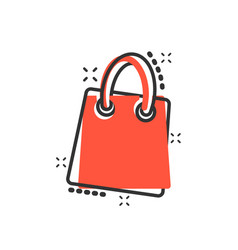 cartoon shopping bag icon in comic style shop vector image