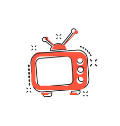 cartoon television monitor icon in comic style tv vector image