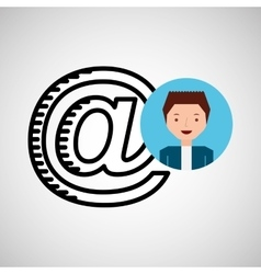 character hand draw mail icon vector image