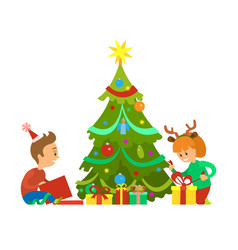 Christmas holidays new years eve unpacking gifts vector