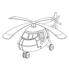 coloring book with a helicopter vector image