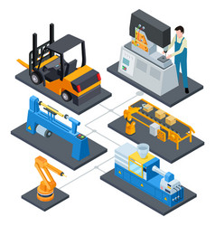 computer controls production factory automation vector image