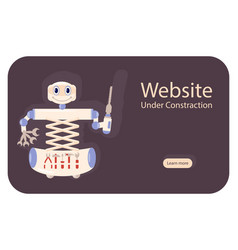 concept website under construction with robot vector image