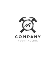 Construction logo template with a gear and you vector
