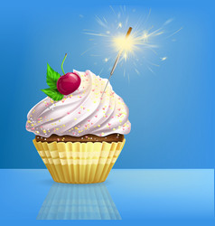 Cupcake decorated fired sparkler realistic vector