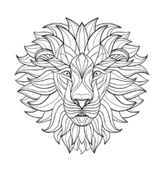 Detailed lion in aztec style patterned head vector