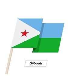 Djibouti Ribbon Waving Flag Isolated on White vector