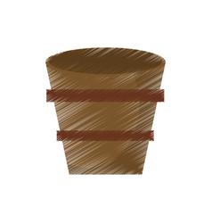 Drawing wooden bucket empty vector