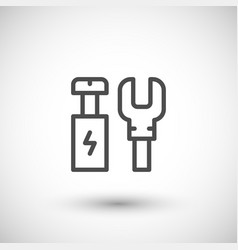 Electrical terminals line icon vector