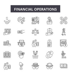 Financial operations line icons signs set vector
