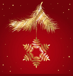 fir branche icon snowflake logo vector image