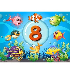 Flashcard number eight with 8 fish underwater vector