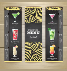Flat cocktail menu desing with chalk drawing vector