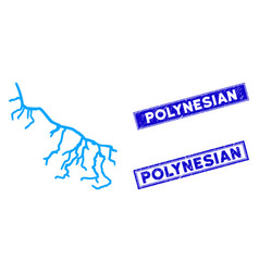 Flat river icon and scratched rectangle polynesian vector