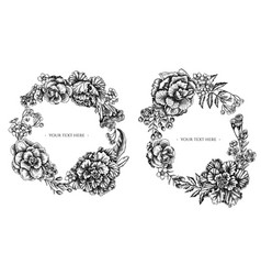 floral wreath black and white wax flower vector image