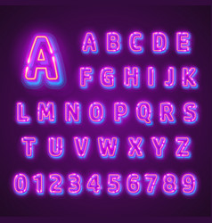 Fluorescent neon font on dark background vector