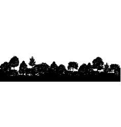 Forest trees silhouettes natural wild landscape vector