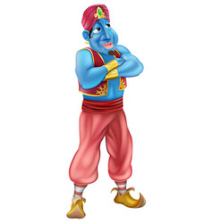 Friendly jinn or genie standing vector