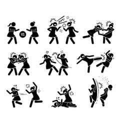 Girls fighting in a cat fight stick figure vector