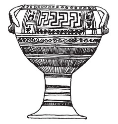 greek vase its a geometric style vase the number vector image