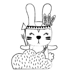 Grunge ethnic rabbit animal in back of bushes vector
