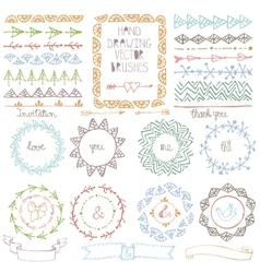 Hand drawn brushes wreath frame setColored vector