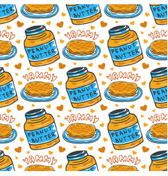 hand drawn peanut butter seamless pattern vector image