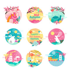 Happy mid autumn festival isolated round emblems vector