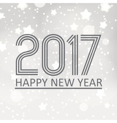 happy new year 2017 on gray silver bokeh vector image