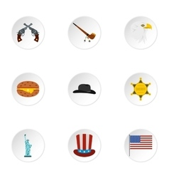Holiday in USA icons set flat style vector