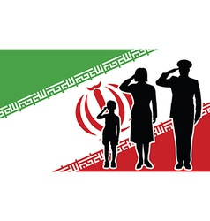 Iran soldier family salute vector image