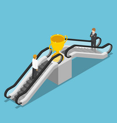 Isometric businessman use an escalator to reach vector