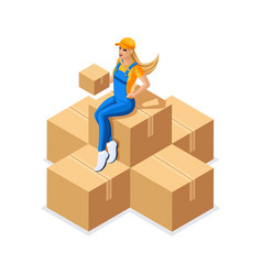 Isometry girl in uniform sits on a large pile of c vector